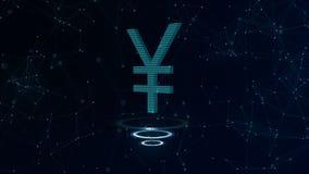 Zeichen der japanischen Yen 3d Blauer Cyberspacehintergrund des Raumes mit Internetanschlüssen Yen ist auf drei virtuellen glühen lizenzfreie abbildung