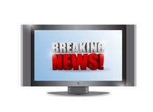 Zeichen der letzten Nachrichten im einem Fernsehen. Illustrationsdesign Stockfotos