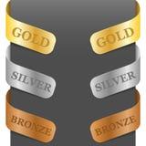 Zeichen der linken und rechten Seite - Gold, Silber, Bronze Lizenzfreie Stockfotografie