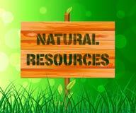 Zeichen der natürlichen Ressourcen zeigt Illustration der Natur-Anlagegut-3d lizenzfreie abbildung
