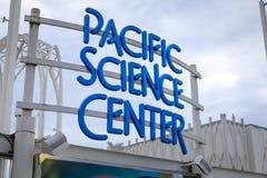 Zeichen der pazifischen Wissenschafts-Mitte in Seattle Stockbilder