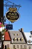 Zeichen an der richtigen Stelle Royale, Quebec City Stockbild