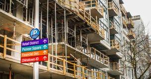 Zeichen der Stadtentwicklung Stockfoto