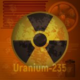 Zeichen der Strahlung Uran 235 Stockfotos