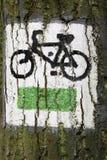 Zeichen der touristischen Fahrradspur. Stockbild