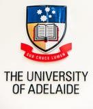 Zeichen der Universität von Adelaide, Australien Stockfoto