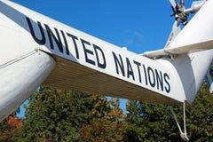 Zeichen der Vereinten Nationen an Bord von Hubschrauber Mi-26 Stockfotografie