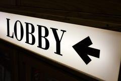 Zeichen der Wortlobby Stockbilder