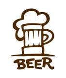 Zeichen des Bechers mit Bier umreißt Schattenbild Lizenzfreie Stockbilder