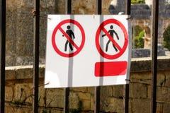 Zeichen des berechtigten Personals nur an der Baustelle Rotes, Schwarzweiss-Sperrgebiet, nur berechtigtes Personal stockbild