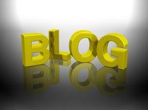 Zeichen des Blogs 3D Gold Lizenzfreie Stockfotos