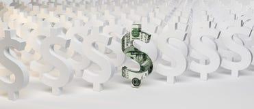 Zeichen des Dollars 3D Stockfotos