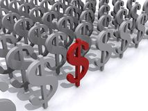 Zeichen des Dollars 3D Stockfoto