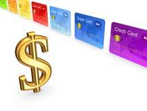 Zeichen des Dollars und der bunten Kreditkarten. Lizenzfreie Stockfotos