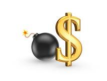Zeichen des Dollars und der schwarzen Bombe. Lizenzfreie Stockbilder