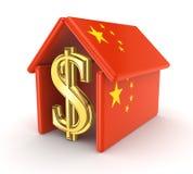 Zeichen des Dollars unter chinesischer Flagge. Lizenzfreie Stockfotos