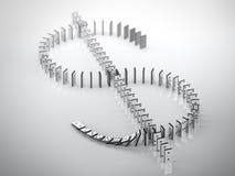 Zeichen des Dollars von gefallenen Dominos Stockbilder