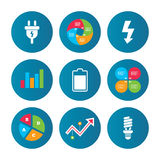 Zeichen des elektrischen Steckers Lampe und Batterie Lizenzfreie Stockfotografie