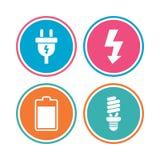 Zeichen des elektrischen Steckers Lampe und Batterie Lizenzfreie Stockfotos