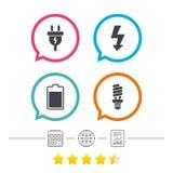 Zeichen des elektrischen Steckers Lampe und Batterie Lizenzfreies Stockfoto