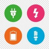 Zeichen des elektrischen Steckers Lampe und Batterie Stockfotos
