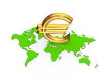Zeichen des Euros auf einer Karte. Stockbilder