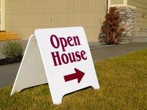 Zeichen des geöffneten Hauses stockfoto