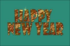Zeichen des Goldfunkelnde Metallneuen Jahres Blumenweinleseorientale-Verzierung Osthintergrund des goldenen Feiertags der Grußkar Stockfoto