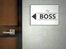 Zeichen des großen Chefs, das nahe Büro hängt Stockfotos