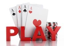 Zeichen des Kasinos 3d und Spielkarten Lokalisierter weißer Hintergrund Stockbild