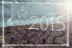 Zeichen des neuen Jahres 2015 auf dem Strand Stockbilder