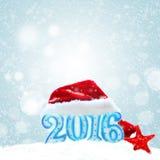 Zeichen des neuen Jahres 2016 mit Santa Claus-Hut Lizenzfreie Stockbilder