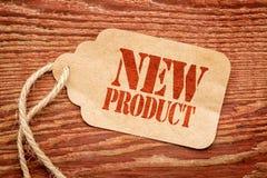 Zeichen des neuen Produktes auf einem Preis Lizenzfreies Stockfoto