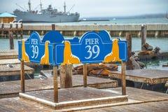 Zeichen des Pier-39 Lizenzfreies Stockbild