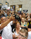 Zeichen des Protestes, Anti-Trumpf-Sammlung, NYC, NY, USA Stockbild