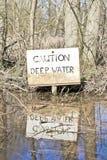 Zeichen des tiefen Wassers Stockbild