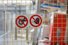 Zeichen des Verbots auf Produktion lizenzfreie stockfotografie