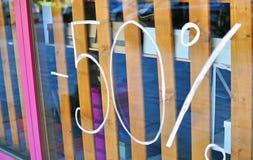 Zeichen des Verkaufs 50 Stockbild
