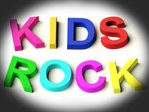 Zeichen, die Kind-Felsen als Symbol für Kindheit buchstabieren Lizenzfreies Stockbild