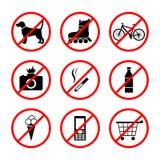 Zeichen, die verschiedene Tätigkeiten in den verschiedenen Plätzen verbieten stock abbildung