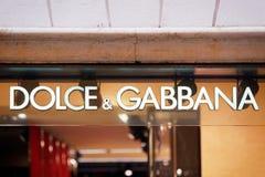 Zeichen Dolce Gabbana auf Straßenshopfenster Rom Lizenzfreies Stockbild