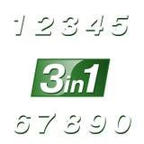 Zeichen drei-in-ein an einem grünen Hintergrund Lizenzfreies Stockbild