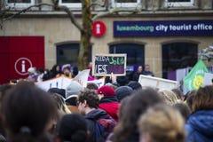 Zeichen an einem Klimawandelprotest stockfotos