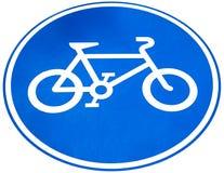 Zeichen eines Fahrrad- oder Fahrradweges, Isolat auf weißem Hintergrund Lizenzfreies Stockfoto