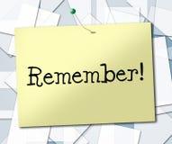 Zeichen erinnern sich anzeigt beachten und Tagesordnung Lizenzfreie Stockfotografie