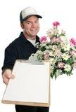 Zeichen für Blume-Anlieferung Stockbild