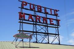 Zeichen für den Pike-Platz-allgemeinen Markt Lizenzfreie Stockfotos