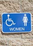 Zeichen für eine Toilette der Frauen Lizenzfreie Stockfotografie