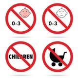 Zeichen für Kinder mit gesetzter Illustration des Babykopfes Farb Stockbilder