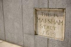 Zeichen für Marsham Stret, die City of Westminster, London Lizenzfreie Stockbilder